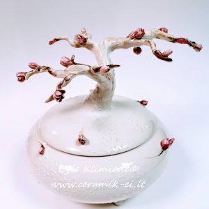 Keramikinė dėžutė su medžiu ir žiedais