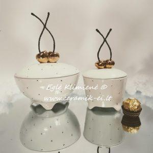 Keramikinės dėžutės su aukso spalvos vyšniomis