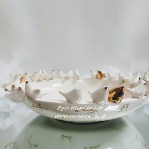 Keramikinis dubuo su paukščiais