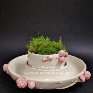 Keraminis indas su rožiniais pumpurais