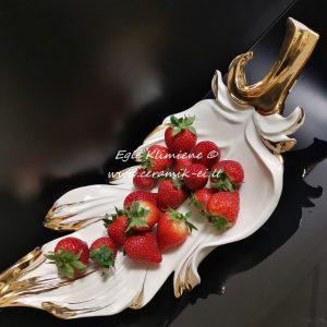 Paauksuota keramikinė saldaininė