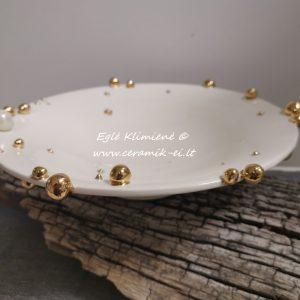 Keramikinė vaisinė su auksiniais bumbulais