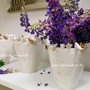 Vazos su violetinėmis gėlėmis