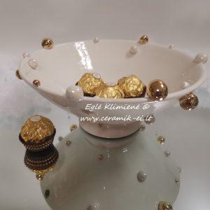 Keramikinis dubenėlis su auksuotais bumbulais